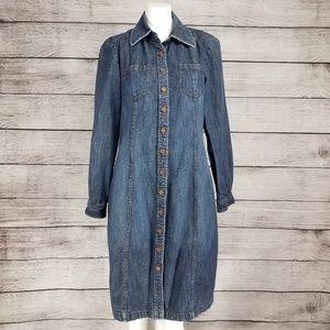 Boden Denim Shirt dress Button front Distressed
